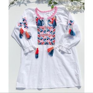 Tops - Embroidered Tunic with Tassels